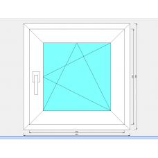 Окно пластиковое 3-х камерное NORDPROF 58мм 600*600 мм 1-створчатое